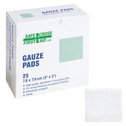"SAFECROSS FIRST AID 03052, GAUZE PAD-STERILE 12 PLY - 7.6CM X 7.6CM 3"" X 3"" 25/BX 03052"