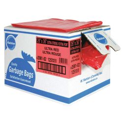 """RALSTON 2981-02, GARBAGE BAG-PLASTIC (125/CS) - 26"""" X 36"""" X-STRONG RED 2981-02"""