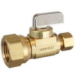 DAHL VALVE LIMITED 5215331, BRASS STRAIGHT WATER SHUT OFF - 1/2 F X 3/8 COMP TUB 521-53-31 5215331