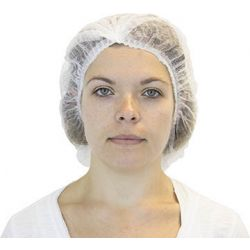 "CANSAFE - SAFETYZONE DBWH-24-1-PL, HAIR NET - WHITE PLEATED 24"" - 100/BAG 10 BAGS PER CASE DBWH-24-1-PL"