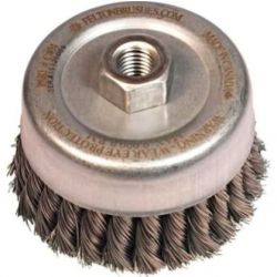 """FELTON BRUSH S404, WIRE SAUCER CUP BRUSH - 4"""" - DIA. .020 KNOTTED 5/8-11 ARBOR S404"""