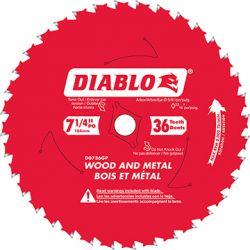 "FREUD DIABLO D0736GPX, BLADE-CIRCULAR 7-1/4"" X 5/8 - 36T TICO CARBIDE WOOD/METAL D0736GPX"