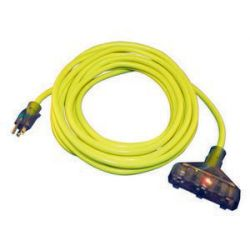 CENTURY WIRE AND CABLE D12421050, EXTENSION CORD 12/3 X 50' - YELLOW-MULTI OUTLET STW PRO - D12421050