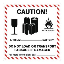 """ACCUFORM SIGNS MPC040PS5, LABELS CAUTION LITHIUM BATTERY - 4"""" X 4"""" 500/ROLL MPC040PS5"""