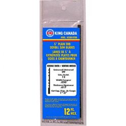 "KING TOOLS KSSB-RT09, KSSB-RT09 REV TOOTH SCROLL - BLADE 5"" PLAIN [12]PKG - KSSB-RT09"
