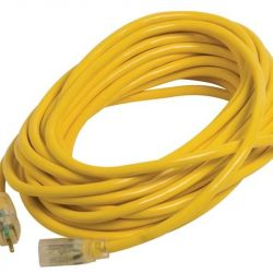 CENTURY WIRE AND CABLE D11712100YL, EXTENSION CORD 12/3 100' - SJTWA LIGHTED END YELLOW D11712100YL