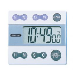 GENERAL TOOLS TI388, 4 CHANNEL BIG DIGIT TIMER - (WHITE) TI388