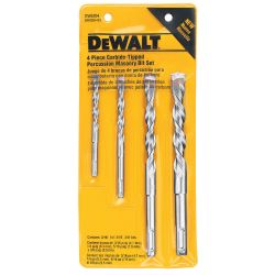 DEWALT DW5204, DRILL BIT-MASONRY 3 FLT RND SH - 4 PC SET 2 CUTTER CT - DW5204