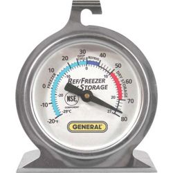 GENERAL TOOLS FT80R, REFRIGERATOR / FREEZER - THERMOMETER W/HANGER, -20F-80F - FT80R