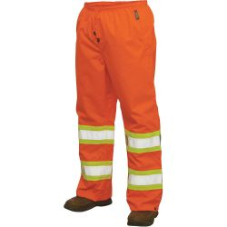 RICHLU MANUFACTURING S37411LGE-FLOR, RAIN PANT POLY RIPSTOP CLS3 IF - WORN WITH S372 -FLUOR-OR - S37411LGE-FLOR