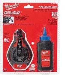 MILWAUKEE 48-22-3982, CHALK LINE KIT 100' - BOLD LINE C/W BLUE CHALK 48-22-3982