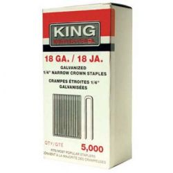 "KING TOOLS NS-1838, KING 18GA. X 1/4"" NARROW CROWN - STAPLES X 1-1/2""LG. (5000/PKG) NS-1838"