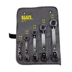 KLEIN TOOLS 68221, RATCHETING BOX WRENCH SET, - 5-PC. W/ POUCH - 68221