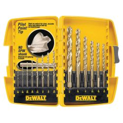"DEWALT DW1956, DRILL BIT SET-PILOT POINT - 16 PC WITH 1/2"" BIT DW1956"