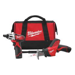 MILWAUKEE 2490-22, M12 CORDLESS 2 TOOL COMBO KIT - W/ COMPACT DRILL AND HACKZALL - 2490-22