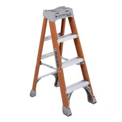 LOUISVILLE FS1504, STEPLADDER-FIBERGLASS 4' - 300 LB W/ DA BOOT & PRO TOP FS1504