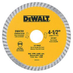 """DEWALT DW4701, DW4701 4"""" .080"""" DIAMOND BLADE - 5/8, 7/8 ARBOR GENERAL DUTY DW4701"""