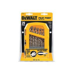 "DEWALT DW1969, DRILL BIT SET-PILOT POINT - 29 PC WITH 1/2"" BIT AND CASE DW1969"