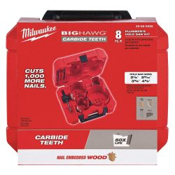 MILWAUKEE 49-56-9285, HOLE CUTTER PLUMBERS KIT 8 PC - BIG HAWG W/CARBIDE TEETH 49-56-9285