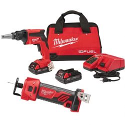 MILWAUKEE 2866-22CTP, COMBO KIT 2 PC - M18 DRYWALL GUN/CUTOUT TOOL - 2866-22CTP