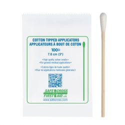 "SAFECROSS FIRST AID 20139, Q-TIP WOOD SWAB 3"" - SINGLE END 100/BX - 20139"