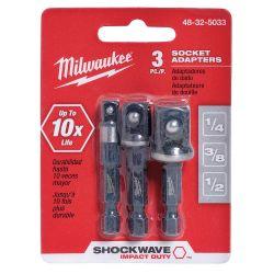 MILWAUKEE 48-32-5033, 48-32-5033 MILWAUKEE SOCKET - ADAPTER SET 3/PC 1/4, 3/8, 1/2 48-32-5033