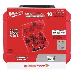 MILWAUKEE 49-56-9290, HOLE CUTTER PLUMBERS KIT 10 PC - BIG HAWG W/CARBIDE TEETH 49-56-9290
