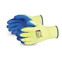 SUPERIOR GLOVE TKYLX/M, GLOVE-HI-VIZ TERRY CLOTH LATEX - PALM COATED FLEECE LINED MED - TKYLX/M