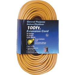 POWER FIRST 1FD54, EXTENSION CORD - 16/3 X 100FT - W/LIGHTED RECEPT SJTW ORANGE 1FD54