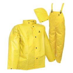 RAIN SUIT-YELLOW 3 PC - FLAME RESISTANT LARGE