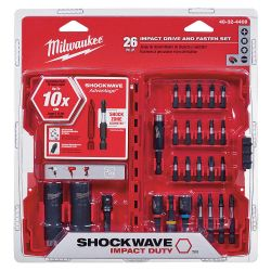 MILWAUKEE 48-32-4408, DRIVE AND FASTEN SET 26 PC - SHOCKWAVE IMPACT DUTY 48-32-4408