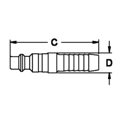 EATON HANSEN 406, HANSEN PLUG-STEEL #406 - 3/8 PLUG X 3/8 HOSE BARB 406