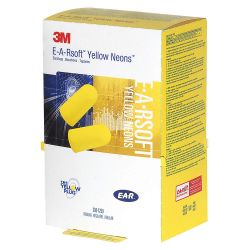 3M 390-1250, EAR PLUG FOAM EAR SOFT YELLOW - NEON RAPID RELEASE BOX 500/BX 390-1250