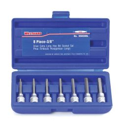 WESTWARD HSK388L, BIT HEX SOCKET - SET 3/8IN DR 8 PC HSK388L