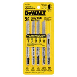 DEWALT DW3795H, JIG SAW BLADE-ASSORTMENT 5 PC - T-SHANK (HCS/HSS) DW3795H