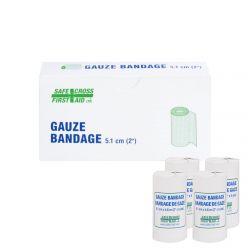 SAFECROSS FIRST AID 02018, BANDAGE-GAUZE - 5 CM X 4.6 M 4/BX 02018