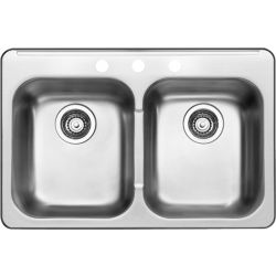 """BLANCO 400001, KITCHEN SINK-ESSENTIAL 2 - 8""""D DBLE BOWL S/S 1 HOLE 400001"""