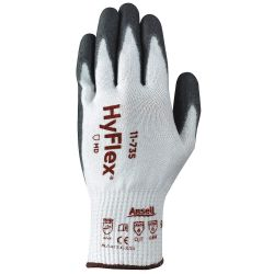 ANSELL HYFLEX 11-735-8, GLOVE-POLYURETHANE COATED ANSI - CUT LEVEL 4 10GA HPPE WHITE/GR - 11-735-8