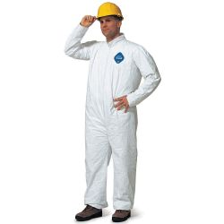 DUPONT TY125SWH4X002500, COVERALLS-TYVEK WHITE-ZIPPER - ELASTIC WRIST/ANKLE XXXXLARGE TY125SWH4X002500