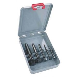 KNIPEX 9R 471 901 3, SCREW EXTRACTOR SET 5 PC - DOUBLE-EDGED W/METAL CASE 9R 471 901 3