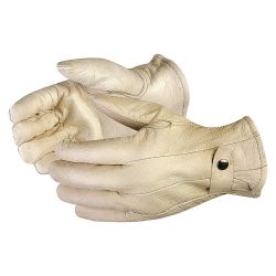 SUPERIOR GLOVE 378CFL-LGE, GLOVE-LEATHER ROPER LINED MENS - WINTER ADJ. SNAP BACK LARGE - 378CFL-LGE