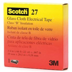 "3M SCOTCH 27-12X66, TAPE-GLASS CLOTH WHITE - 1/2"" X 66 FT 3M 27-12X66"