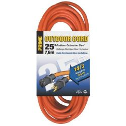 PRIME WIRE & CABLE EC501725, EXTENSION CORD 14/3 X 25 FT - SINGLE OUTLET ORANGE SJTW EC501725