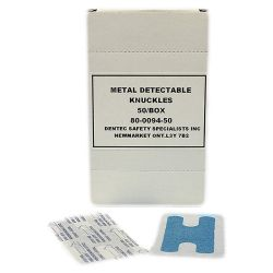 DENTEC 80-0094-50, BLUE METAL DETECTABLE BANDAID - KNUCKLES 50 PER BOX 80-0094-50