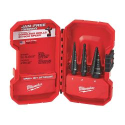 MILWAUKEE 48-89-9221, STEP DRILL BIT SET (3 PC) - #1, #2, #4 W/CARRYING CASE 48-89-9221