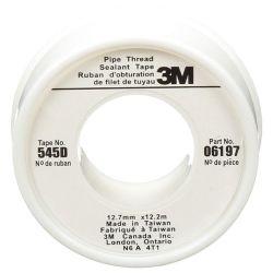 3M 06197, TEFLON TAPE-WHITE - 12MM X 12M (1/2 ) 06197