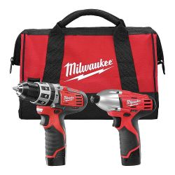 MILWAUKEE 2497-22, COMBO KIT 2 PC - 3/8 HAMMERDRL/IMP WRENCH - 2497-22