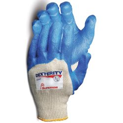 SUPERIOR GLOVE S15NT6, GLOVE-NITRILE BLUE COATED PALM - DEXTERITY NT PURPLE CUFF SZ 6 - S15NT6