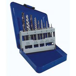 IRWIN 11119, 10 PC SCREW EXTRACTOR SET - W/LEFT HAND COBALT DRILLS - 11119